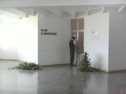 Este es el salón de reuniones. Por favor, ignoren al delincuente que está forzando la puerta